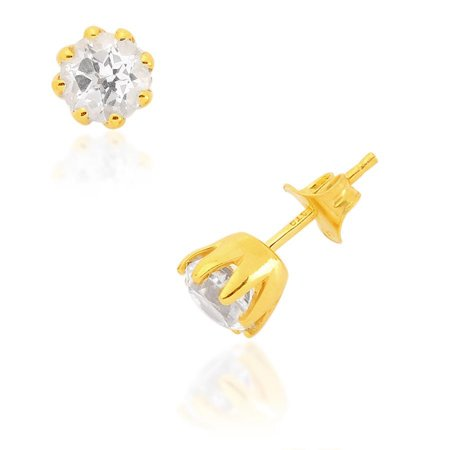 16d93b4f699 White Topaz Yellow Gold Plated 925 Solid Sterling Silver Stud ...