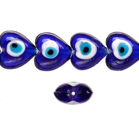 Glass beads, sapphire base evil eye amulet design, 19mm heart shape beads. sold per 18pcs/ 30cm string