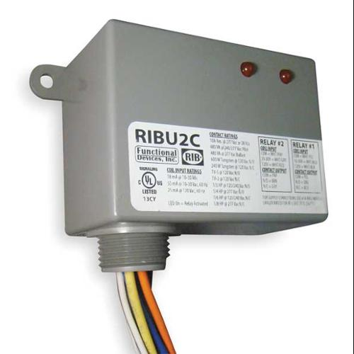FUNCTIONAL DEVICES INC / RIB RIBU2C Enclosed Pre-Wired Relay, (2) SPDT, 10A