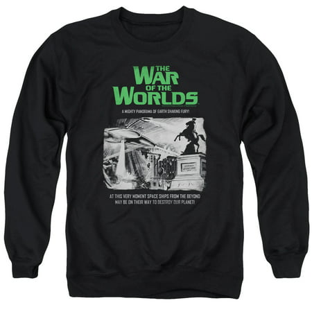WAR OF THE WORLDS/ATTACK PEOPLE POSTER - ADULT CREWNECK SWEATSHIRT - BLACK - 3X