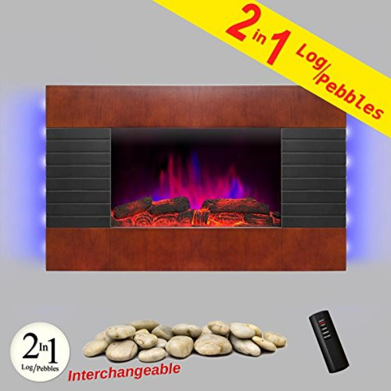 "AKDY 36"" Wooden Style Wall Mount Tempered Glass Log Pebble 2-in-1 Electric Fireplace Heater Stove 1500W Adjustable Temperature w/ Remote Control"