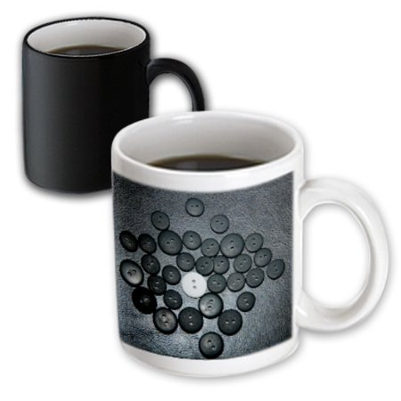 3dRose One Big White Button In the Center of Small and Large Black Buttons on a Black Leather Backdrop, Magic Transforming Mug, 11oz