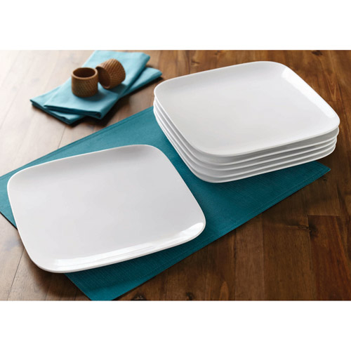 Better Homes and Gardens Soft Square Dinner Plates, White, Set of 6