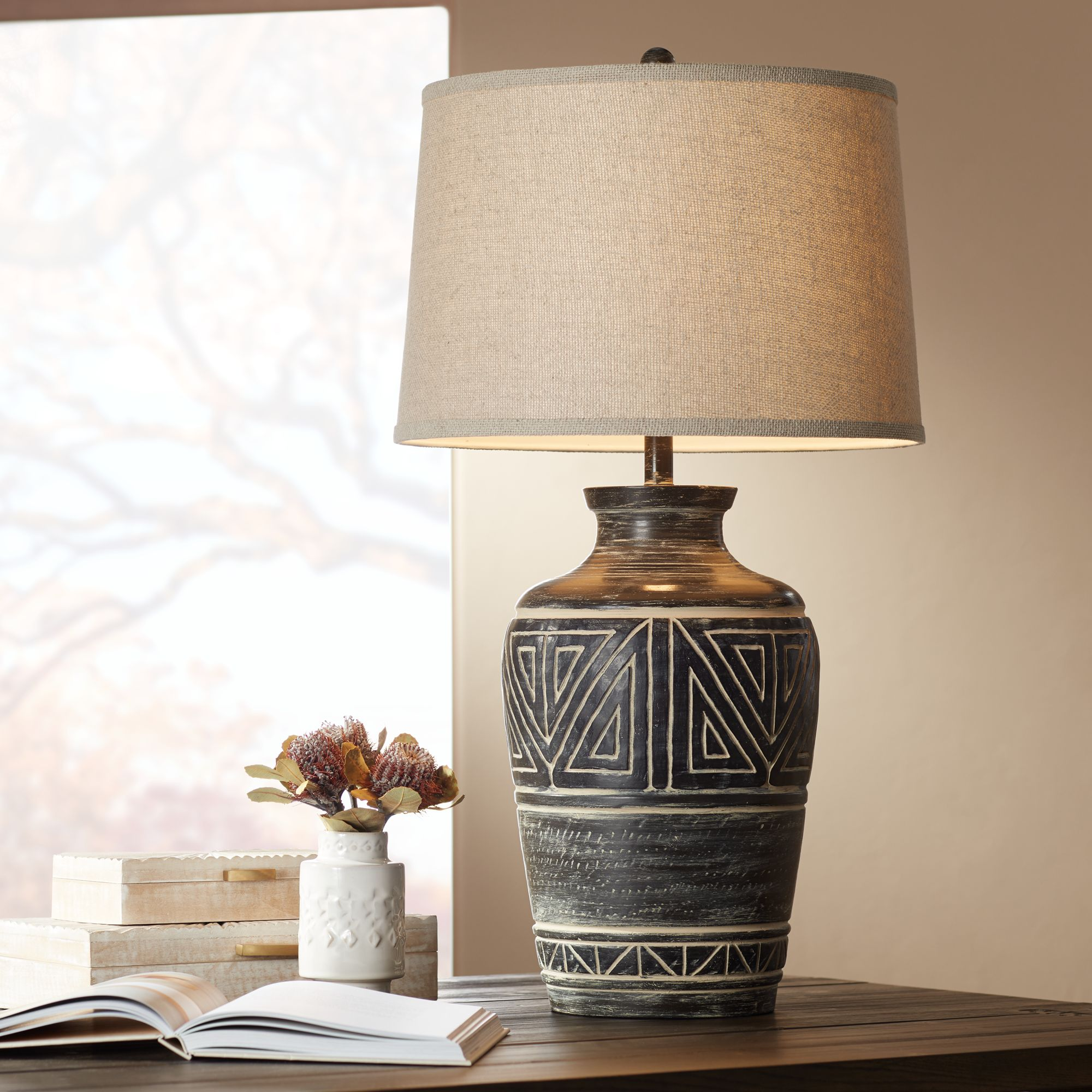 John Timberland Rustic Table Lamp Southwest Earth Tone Linen Drum Shade For Living Room Bedroom Bedside Nightstand Office Family Walmart Com Walmart Com