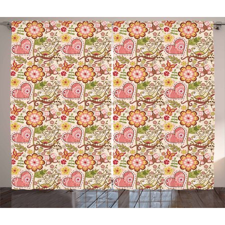 Floral Curtains 2 Panels Set, Lovely Daisies Butterfly Celebration Petals Hearts Blooms Girlish Print, Window Drapes for Living Room Bedroom, 108W X 84L Inches, Coral Peach Ruby Yellow, by Ambesonne