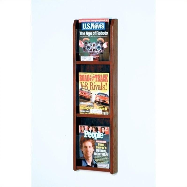 Wooden Mallet 3 Pocket Magazine Wall Display in Mahogany - image 1 of 1