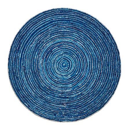 Ripple Blue Mix Cotton Rug 6' Round