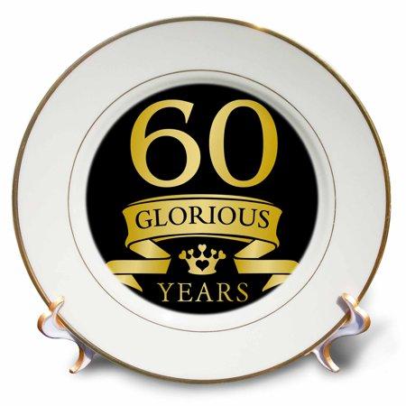3dRose 60th Celebration Anniversary, Birthday Design in Tonal Yellow on Black, Porcelain Plate, 8-inch ()