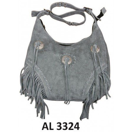 Ladies Fashion Motorcycle Heavy Duty Western Style Gray Suede Leather Handbag With Fringe & 3 Conchos