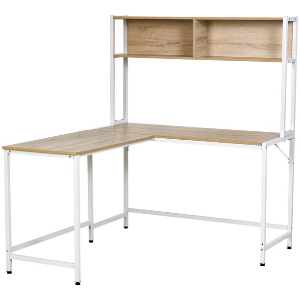 HOMCOM Office L-Shaped Computer Desk with Overhead Bookshelf, Two Side Storage Compartments, & Strong Design