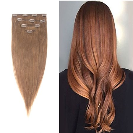 ac2c32ccaeb FLORATA 13-19inch Straight Full Head Grade 7a 100% Remy Human Hair  Extensions Standard Weft Clip in 4pcs 10clips 60g Thick Long Soft Silky  Straight ...