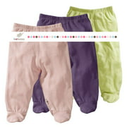 Baby Soy O Soy 3-piece Footie Pants Set for Girls, 0-3M (Meadow, Peony, Wineberry)