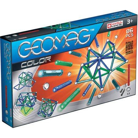 GeoMag Kids Color Magnetic Construction System Set, 86 Pieces