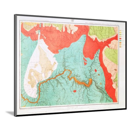 Geologic Map of Grand Canyon Area Wood Mounted Print