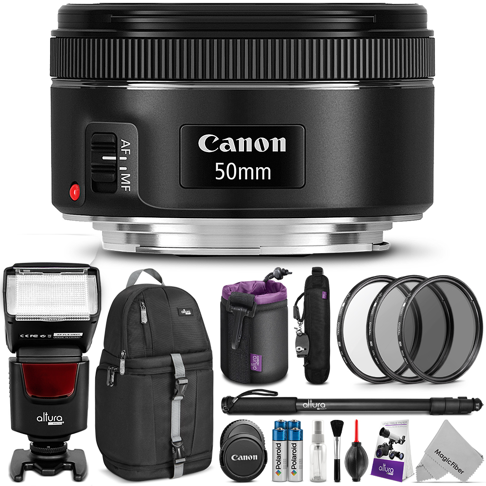 Canon EF 50mm f/1.8 STM Lens w/ Complete Bundle - Includes: Altura Photo AP-UNV1 Flash + DSLR Sling Backpack + Monopod + UV-CPL-ND4 + Altura Photo Rapid FireTM Neck Strap + Lens Pouch + Cleaning Set