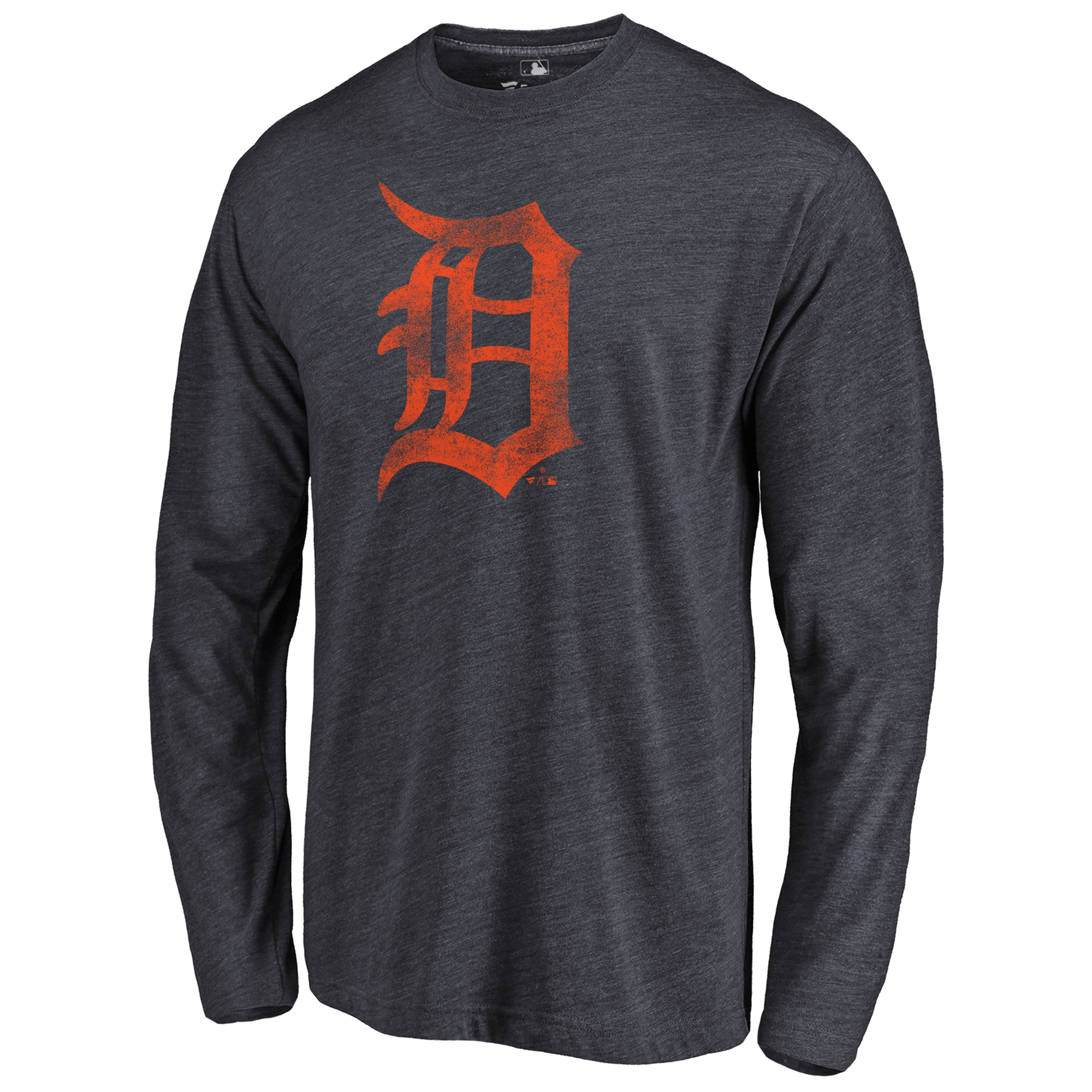 Detroit Tigers Distressed Team Long Sleeve Tri-Blend T-Shirt - Navy