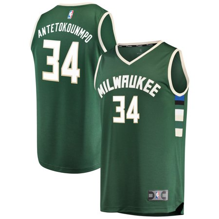 Giannis Antetokounmpo Milwaukee Bucks Fanatics Branded Fast Break Replica Jersey Green - Icon Edition (Light Blue Adult Replica Jersey)