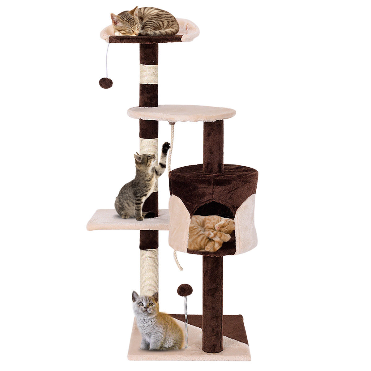 Gymax 43'' Cat Tree Kitten Activity Tower Furniture Condo Perches Scratching Posts Rope by Gymax
