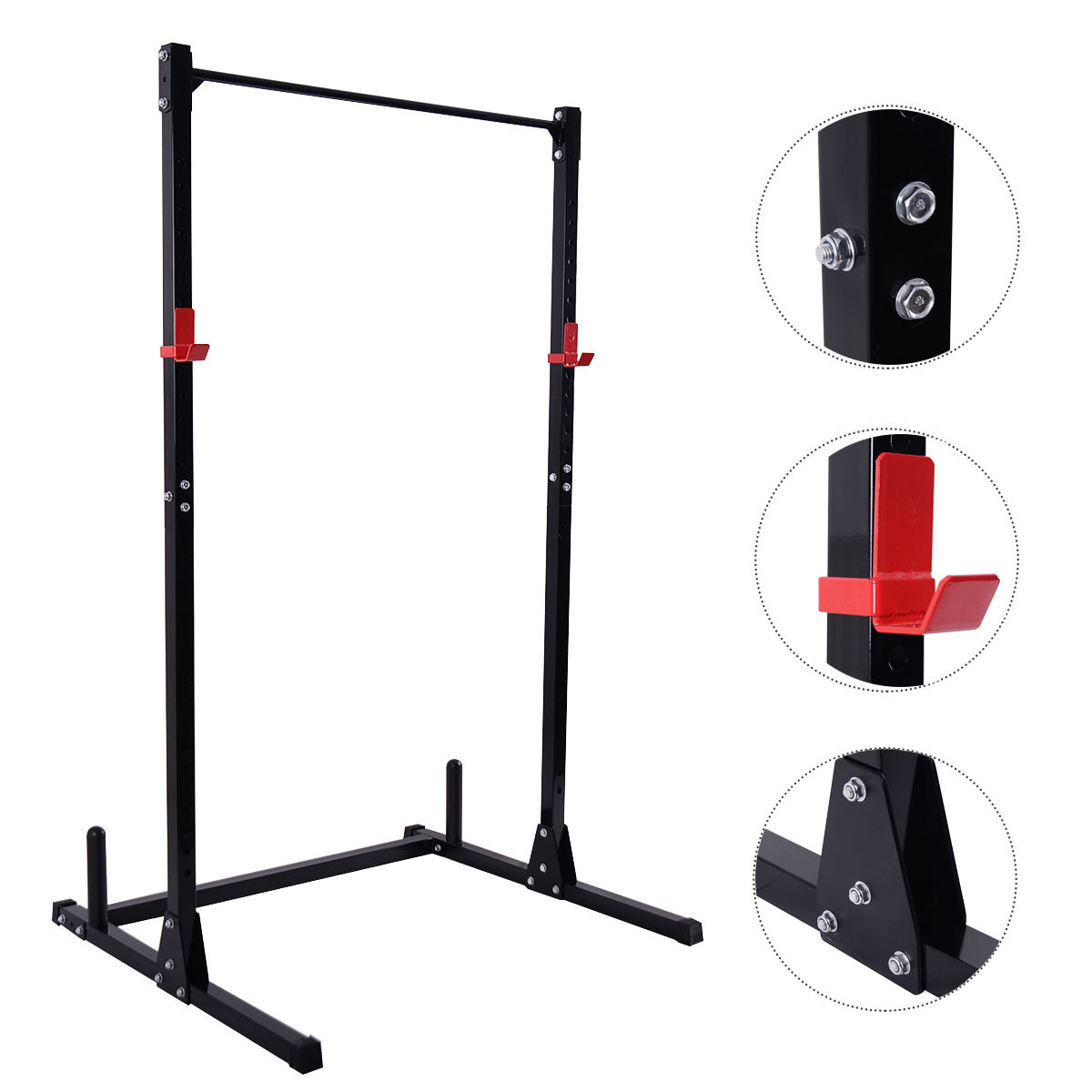 Costway Strength Power Lifting Rack Squat Bench Deadlift Curl Pull Up Cage Weight Stand by Costway