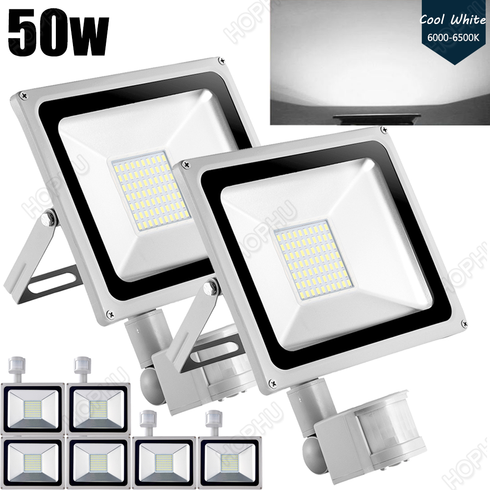 8PCS 4000LM LED Security Light, 50W Outdoor Motion Sensor Light, 6000K, IP65 Waterproof, Adjustable Head Flood Light for Entryways, Stairs, Yard and Garage