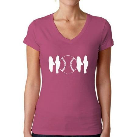 Baseball V-neck T-shirt - Awkward Styles Women's Baseball MOM Mothering Sport Mom V-neck T-shirt White Mother's Day