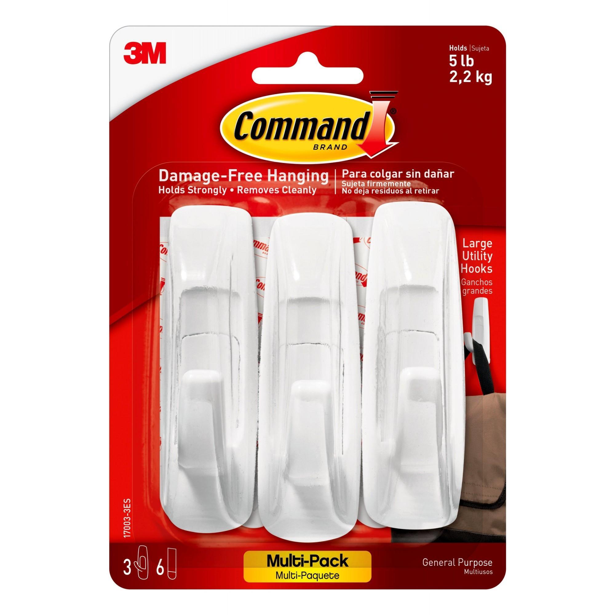 Command Utility Hook Value Pack, White, Large, 3 Hooks, 6 Strips/Pack