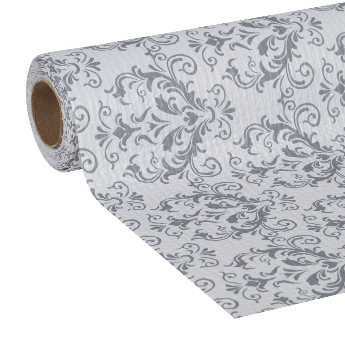 "Duck Brand Smooth Top Non-Adhesive Shelf Liner, 20"" x 6', Grey Damask"
