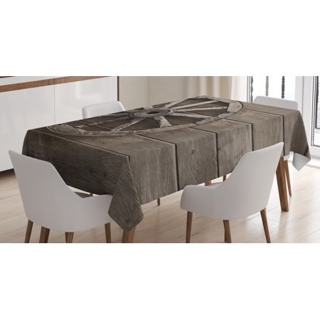Barn Wood Wagon Wheel Tablecloth, Antique Aged Carriage Vehicle Wheel on the Wall of Barn Grunge Western, Rectangular Table Cover for Dining Room Kitchen, 60 X 90 Inches, Umber, by - Western Table