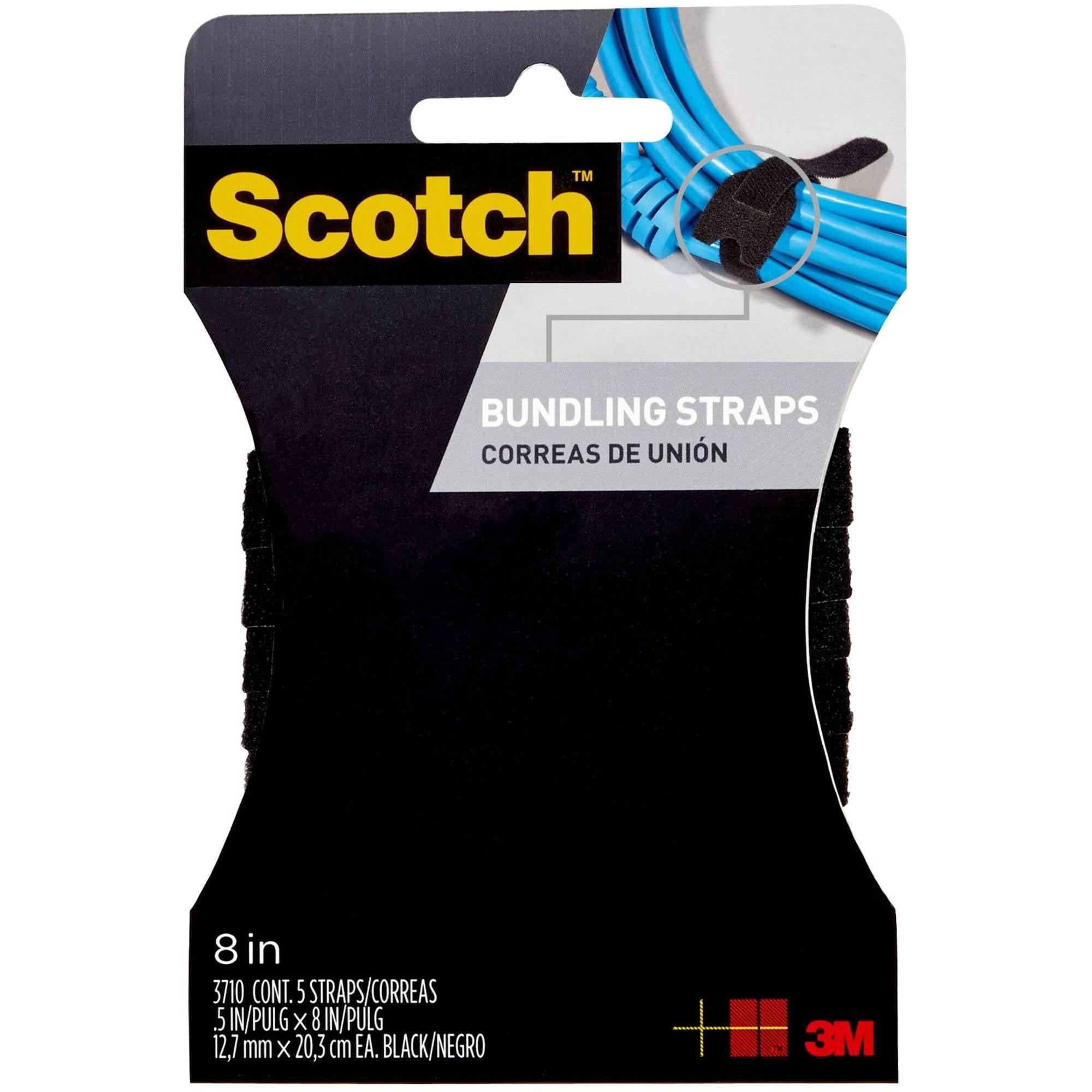 Scotch Bundling Straps, 0.5 in. x 8 in., Black, 6/Pack