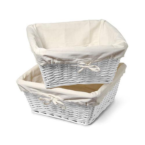 Burlington Set of 2 Large Storage Baskets, White
