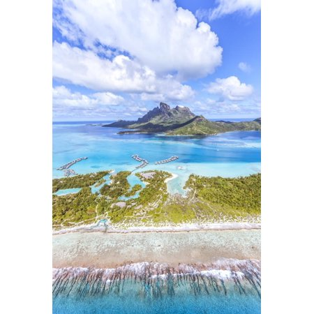 Aerial View of Bora Bora Island with St Regis and Four Seasons Resorts, French Polynesia Print Wall Art By Matteo