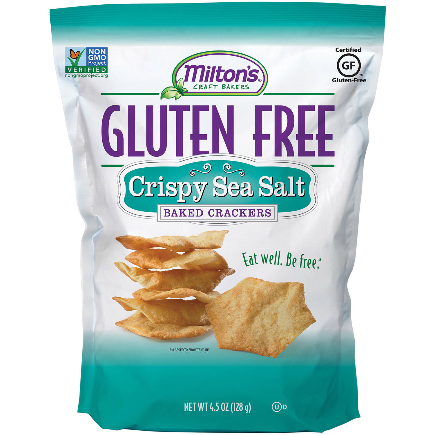 Milton's Gluten Free Snack Crackers, Sea Salt, 4.5 Oz (Pack of 2)