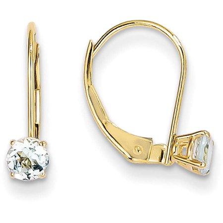 Aquamarine 14kt Yellow Gold Earrings, March