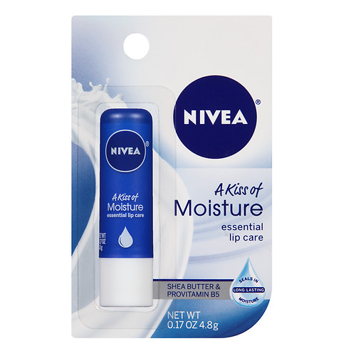 NIVEA A Kiss of Moisture Essential Lip Care 0.17 oz (Pack of 2) 3 Pack - EOS Pearl Shimmer Lip Balm 0.25 oz