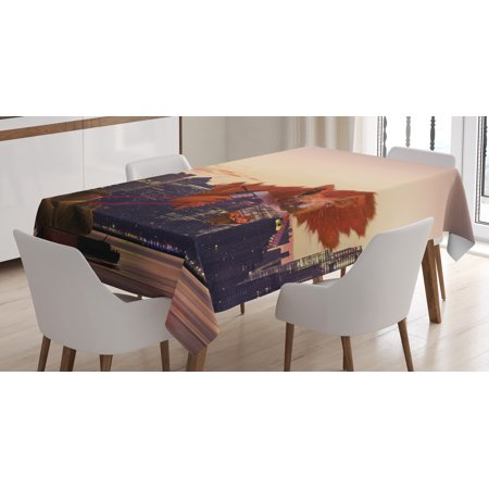 Nuts Laser - Animal Decor Tablecloth, Big Squirrel Cartoon in New York City Landscape Lasering Big Nuts Artwork , Rectangular Table Cover for Dining Room Kitchen, 60 X 90 Inches, Multicolor, by Ambesonne