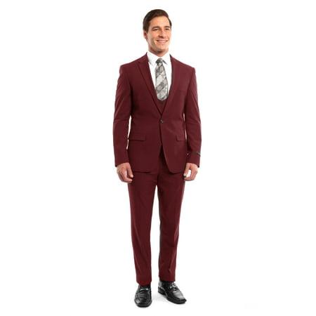 Mens Suit Three Piece Ultra Slim Peak Lapel Solid Suits