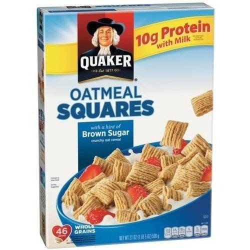 Quaker Oatmeal Squares Brown Sugar Cereal, 21 oz