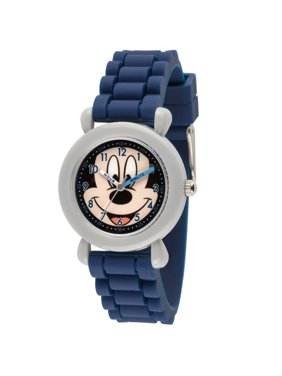 105a32777 Product Image Mickey Mouse Boys' Gray Plastic Time Teacher Watch, Blue  Silicone Strap