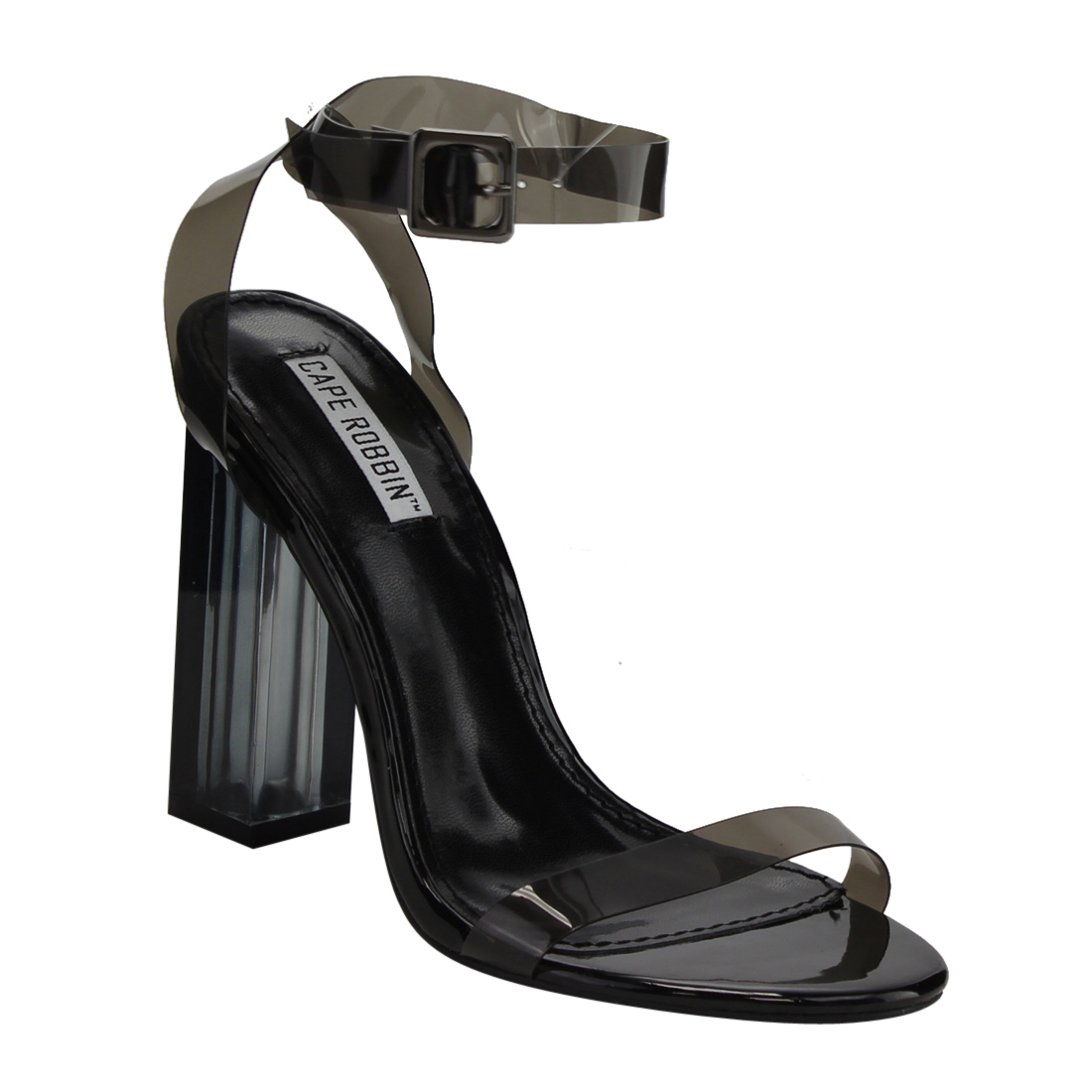 CAPE ROBBIN FG05 Women's Strappy Clear Lucite Block Chunky Heel Sandals