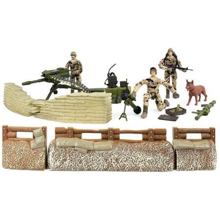 Trench Set - Click N' Play Military Trench Defense Unit 25 Piece Play Set With Accessories