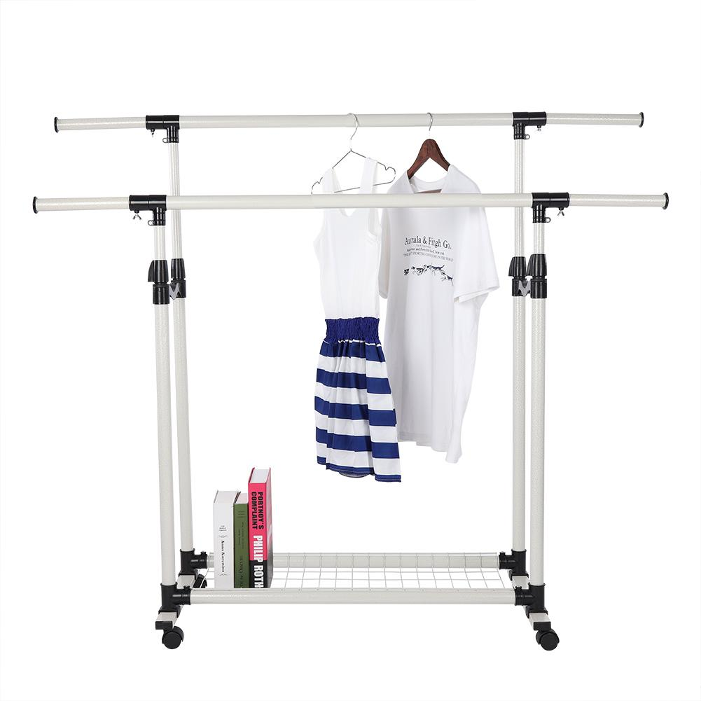 Dilwe Adjustable Collapsible Rolling Double Rails Garment Clothes Coat Rack Dryer Hanger, Double Rails Clothes Rack,Clothes Rack