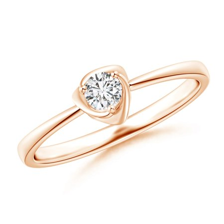April Birthstone Ring - Solitaire Diamond Floral Ring in 14K Rose Gold (3.4mm Diamond) - SR1299D-RG-HSI2-3.4-6.5