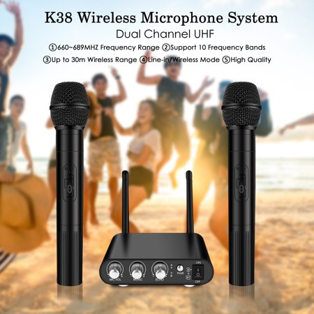 UHF Wireless Microphone System, ELEGIANT Mini Easy to Use Bluetooth Microphone Dual Channel Karaoke Wireless Mic System Singing Machine for Outdoor