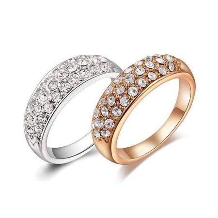 18K Gold Pave Austrian Crystals Band Cocktail Ring - Choose Your Color ()