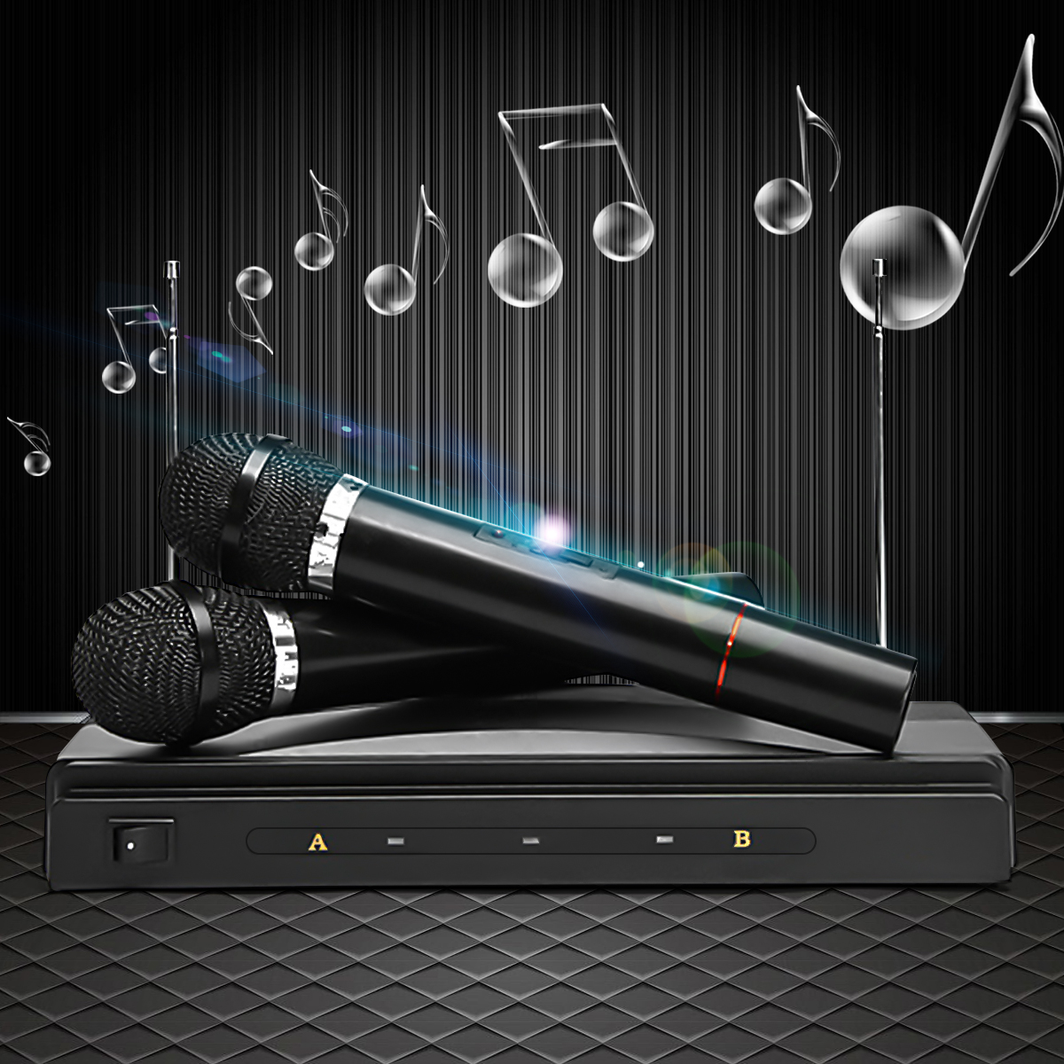 Cordless Wireless Mic Microphone Dual+ Receiver for Karaoke DJ Sing Songs by