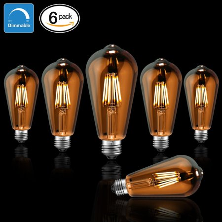 6 Pack Edison E26 Base Dimmable Glow Amber Led Light Bulbs 60w Equivalent Halogen Replacement Vintage