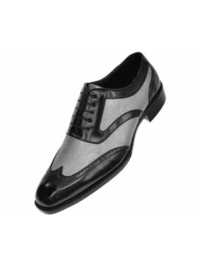 a8b7e3642 Product Image Bolano Men s Two-Tone Metallic Black Smooth Lace up Oxford  Dress Shoe