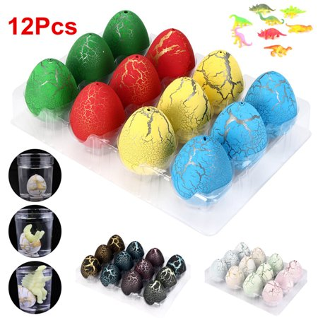 Moaere 12pcs Novelty Magic Large Size Crack Easter Dinosaur Eggs Hatching Toy with Mini Toy Dinosaur Figures Inside for Kids Stocking - Dinosaur Eggs Hatching