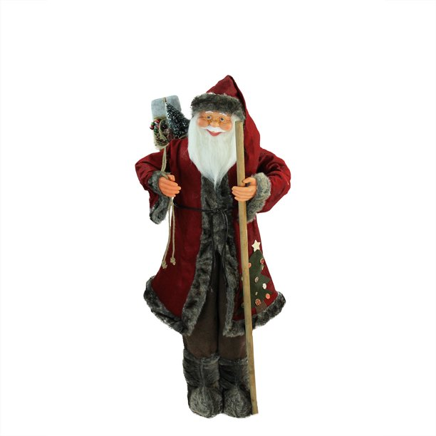48 Red And Brown Standing Santa Claus Christmas Figurine With Walking Stick Walmart Com Walmart Com