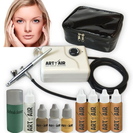 Art Of Air Medium Complexion Professional Airbrush Cosmetic Makeup System   4Pc Foundation Set With Blush  Bronzer  Shimmer And Primer Makeup Airbrush Kit